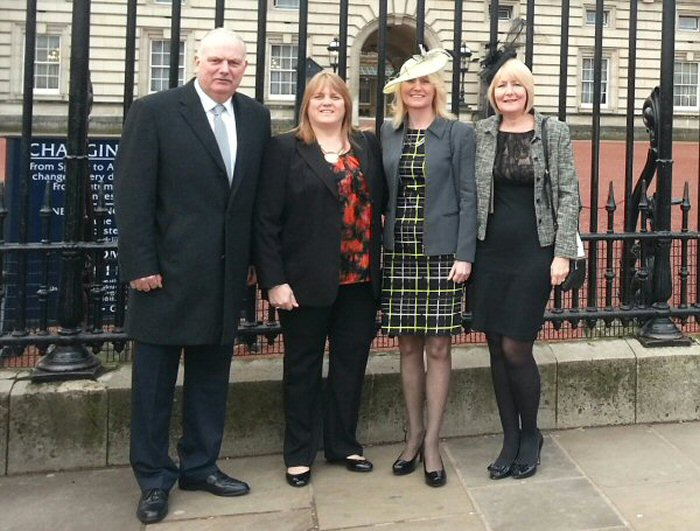 Trina Gulliver MBE<br>Brother Andy, partner Sue, Trina and sister Denise