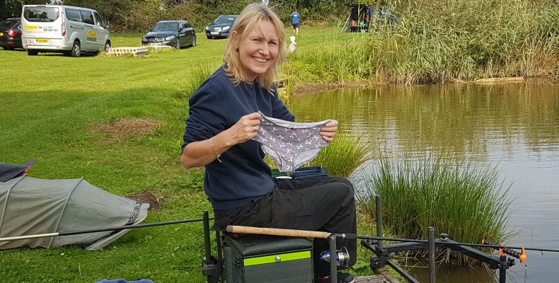 Trina Gulliver with her lucky knickers at the YAP Pro Celebrity Fishing Tournament in aid of Cancer Reseach