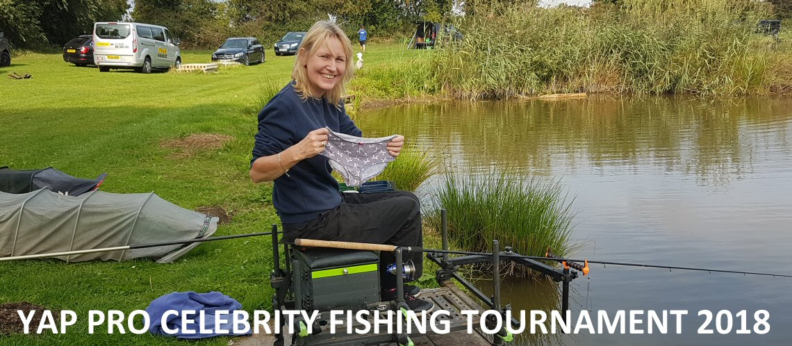 Trian Gulliver with her lucky knickers at the YAP Pro Celebrity Fishing Competition August 2018